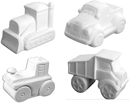 Boys Rule Truck Set - 4 Pieces - Host Your Own Ceramic Painting Party