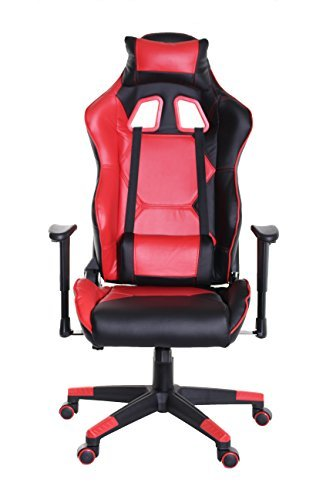 411CdR1fCNL - TimeOffice-Sport-Series-Ergonomic-Video-Gaming-Chair-Race-Car-Style-with-PU-leather-and-LumbarHead-Cushion-for-Computer-Gaming-and-Office-Working-RED