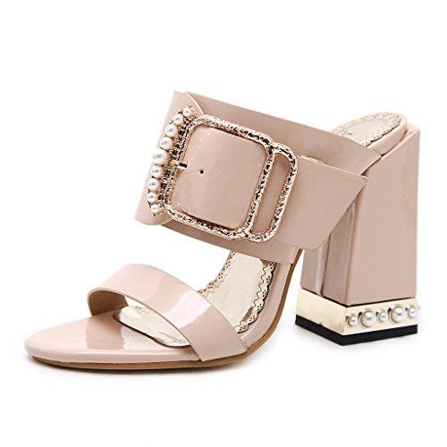 Single shoes - female Sandalias de punta abierta de verano y zapatillas con sandalias ocasionales gruesas (Color : Albaricoque, Tamaño : 37-Shoes long235mm) Albaricoque