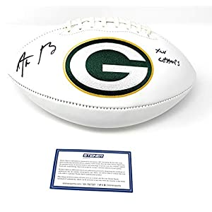 Aaron Rodgers Green Bay Packers Signed Autograph NFL Embroidered Logo Football Super Bowl Champs XLV Champs Main Panel Steiner Sports Certified