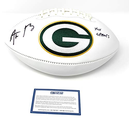 Aaron Rodgers Green Bay Packers Signed Autograph NFL Embroidered Logo Football Super Bowl Champs XLV Champs Main Panel Steiner Sports Certified from Mister Mancave