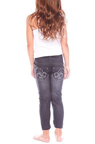 Crush Toddler Girl Rhinestone Chevron Denim Seamless Legging Pants 2T - 4T (Girls Embroidered Denim Capri Pants)