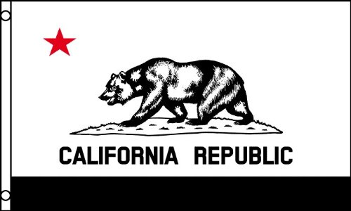 Black and White CALIFORNIA FLAG, 3'x5' CA Republic American banner
