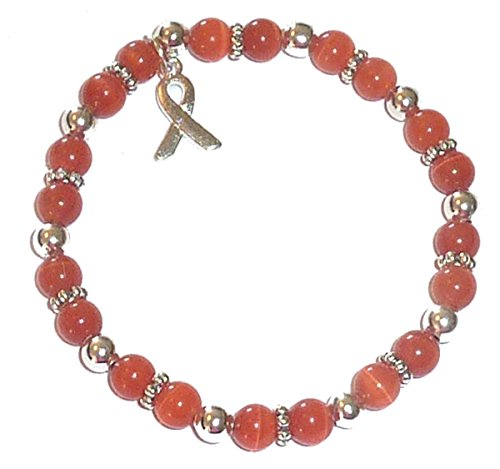 Hidden Hollow Beads Cancer Awareness 6mm Beaded Stretch Bracelet, Adult size, Comes Packaged (Leukemia - Orange)