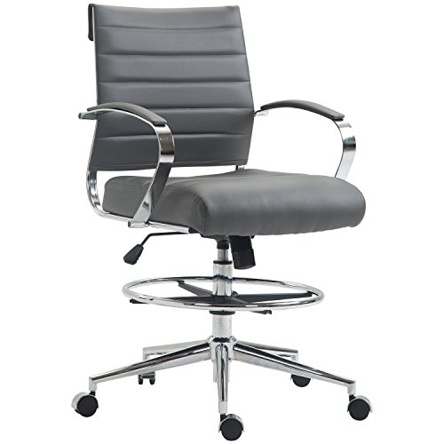 Poly and Bark Tremaine Drafting Chair in Vegan Leather, Grey
