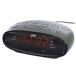 GOSO Digital FM Dual Alarm Clock Radio with LED Display, Digital AM/FM Tuner,  Snooze Function, Sleep Timer and Battery Backup