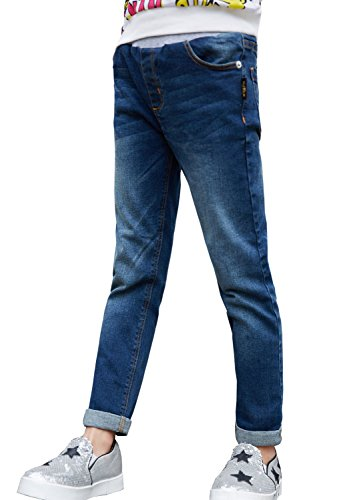 NABER Kids Girls' Casual Elastic Waist Denim Washed Jeans Size 5-6 (Elastic Girls Jeans)