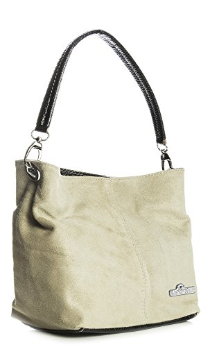 Mini Suede Strap DEMI Leather Womens Beige LIATALIA Hobo Single Real Italian Bag Slouch IO5qxqwS1