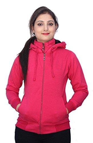 Romano - Sweat-shirt - Veste - Uni - Col Chemise Classique - Manches Longues - Femme Rose Rose