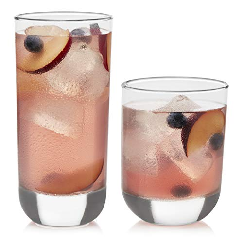 Drinking Glass Rocks (Libbey Polaris 16-Piece Tumbler and Rocks Glass Set, Clear)