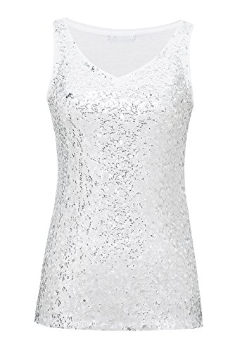 Metme Sleeveless Shirt V Neck Sequin Embellished Close-Fitting Tank Tops Vest Tops ()