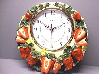 "STRAWBERRY 3-Dimensional 12"" Wall Clock BRAND NEW!"