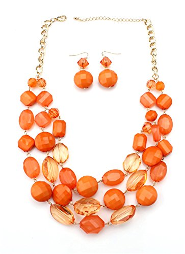[Youthway Women's Choker Acrylic Candy Color Multilayer Pendant Statement Necklace Earrings Set] (Necklaces And Earrings)