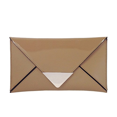 JNB Faux Patent Leather Envelope Clutch, Taupe by JNB