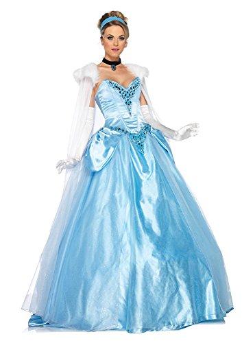 Disney Princess Fancy Dress Costumes Adults (Leg Avenue Disney 6Pc. Deluxe Princess Cinderella Dress Cape Crown Head Piece, Blue, Small)