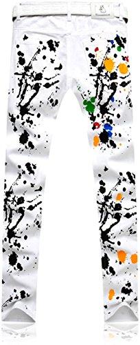 Uomo Denim Tendenze Stampa Sottile Jeans Jeansian Mjb116 Casual Uomini white Moda Pantaloni tqxwZFf