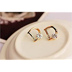 JD Million shop 2017 New Hot ! Super Fashion Fine Jewelry Sparkling Gold Color Zircon Letter D Individuality Stud Earrings For Women Gifts E-21