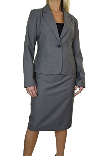 icecoolfashion Ice (6466-1) Smart Business Office Fully Lined Pencil Skirt Suit Grey (Fully Lined Pencil)