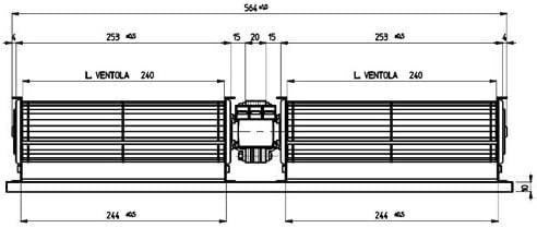 MOTORE VENTILATORE TANGENZIALE DOPPIO STUFE A PELLET 25W 2x240x40mm ITALY 119804