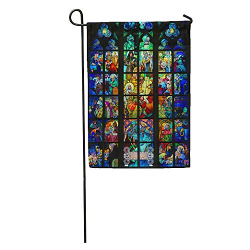 Semtomn Garden Flag Prague Czech Republic April Stained Glass Window of St Wenceslas Home Yard House Decor Barnner Outdoor Stand 28x40 Inches Flag