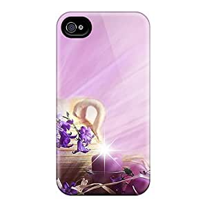 Awesome TSyhpBx6323lLcjq Mialisabblake Defender Tpu Hard Case Cover For Iphone 4/4s- Violets Pink