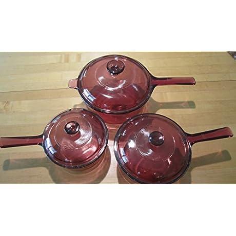 6 Piece Set Corning Visions Visionware Cranberry Sauce Pan Set W Lids 1 Litre 1 5 Litre 2 5 Litre