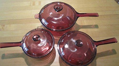 6 Piece Set - Corning Visions Visionware Cranberry Sauce Pan Set w/ Lids - 1 Litre, 1.5 Litre & 2.5 Litre