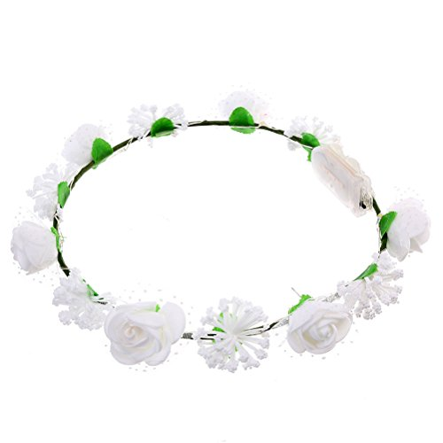 Frcolor LED Flower Leis Light Up Flashing Hawaiian Lei Floral Necklace Holiday Decorative