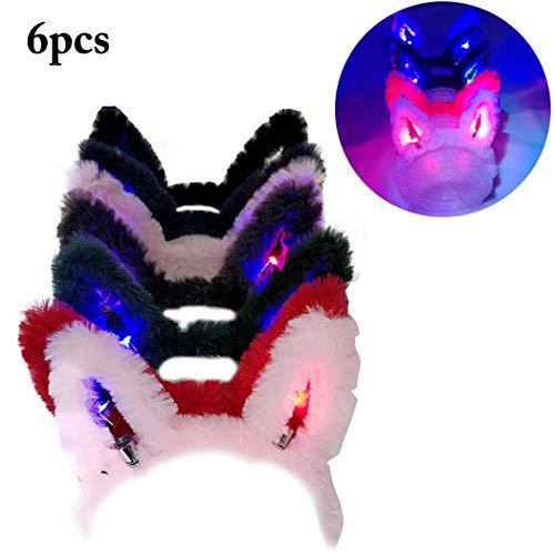 6PCS Light up Rabbit Ear Headband, Coxeer Plush Bunny Ears LED Headband Costume Accessory Party Favors Set for Headband New Year Party Christmas -