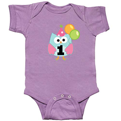 inktastic - 1st Birthday Party Girls Owl Infant Creeper 12 Months Lavender -