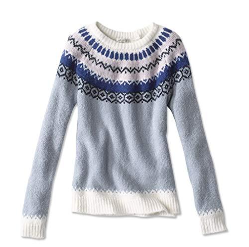 Orvis Women's Fair Isle Crewneck Sweater, X Large Blue
