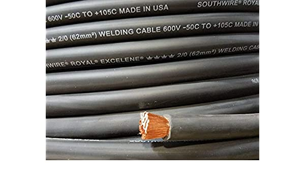 2//0 EXCELENE WELDING BATTERY CABLE BLACK 600V USA 105c EPDM JACKET 5/' ft