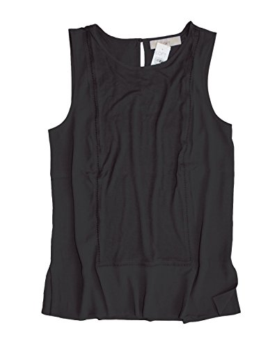 Ann Taylor LOFT - Women's - Solid Mixed Media Ladder Lace Shell Tank Top (X-Small, Black)
