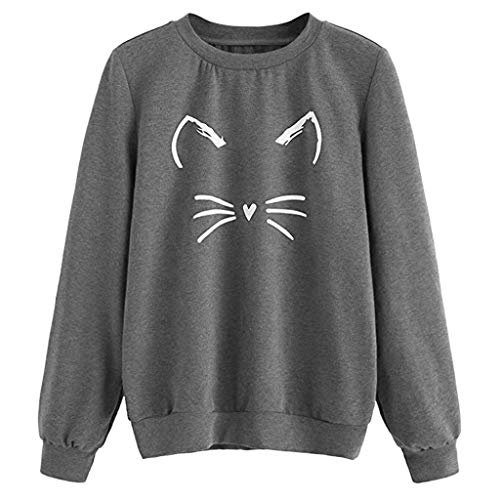 Hoodies Sweater Tops - ✔ Hypothesis_X ☎ Women Autumn and Winter Cat Weater Round Neck Long Sleeve Sweatshirts Dark Gray (Lined Sweater Striped)