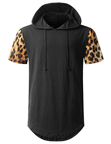 URBANTOPS Mens Hipster Hip Hop Cheetah Print Short Sleeve Hoodie BLACK - Mens Cheetah Print