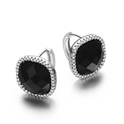 SBLING Platinum Plated Black Small Halo Drop Earrings with Cubic Zirconia