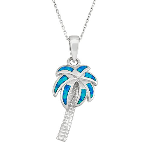 Sterling Silver Created Blue Opal Palm Tree Pendant with 18