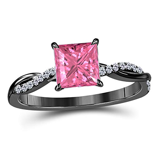 (Jewelryhub 1.20 Ct Princess Cut Created Pink Sapphire 14K Black Gold Finish Sterling Silver Swirl Style Engagement Ring Women's in)