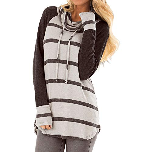 Orangeskycn Womens Casual Long Sleeve Striped Cowl Neck Pullover Tops Bow Blouse ()