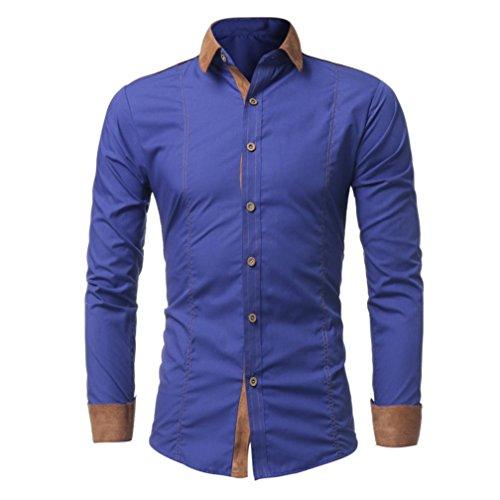 Price comparison product image BCDshop Men Shirt Fashion Solid Color Male Casual Patchwork Long Sleeve Shirt Blouse (Blue,  XXXL)