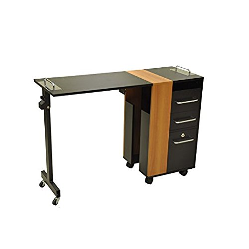 Manicure Table TAYLOR BLACK & BROWN Versatile, Rolling Salon Nail Table Salon Furniture & Equipment by BERKELEY