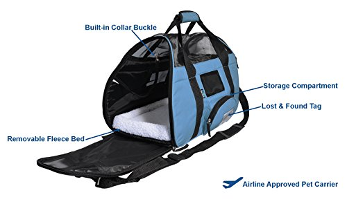 KritterWorld Soft Sided Pet Travel Carrier for Small Dogs and Cats Puppy Small Animals Airline Approved | Removable Sherpa Lining Bed, Built-in Collar Buckle, Lost & Found Tag Included by Black by KritterWorld (Image #2)