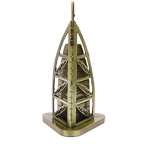 JETEHO 6'' Inches Burj Al Arab Hotel Statue Statue Metal Dubai Landmarks Famous Architecture Model for Unique Gifts Dubai Souvenir Shelf Table Desk Decorations (Hotel Metal)
