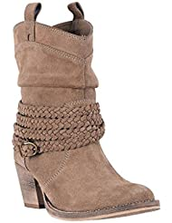 Dingo Western Boots Womens Leather Braided Trim Brown DI 676
