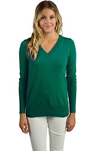 JENNIE LIU Women's 100% Pure Cashmere Long Sleeve Ava V Neck Pullover Sweater (L, Forest)