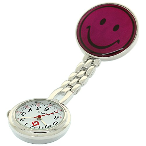 Clip-on Fob Brooch Pendant Hanging Watch Women Smile Design Unisex Watches Fashion Nurse Watch Clock Stainless Steel Medical Watches Pocket Clock Gift for Hospital Doctors Nursing Timepiece