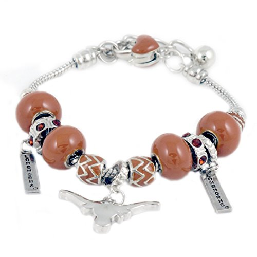 Sandol Texas Longhorns Triple Charm Beaded (Texas Longhorns Beaded Bracelets)