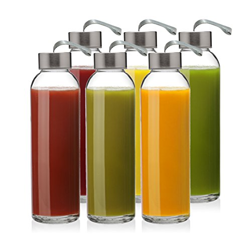 6 Pack - Glass Water Bottles with 18 oz Capacity, Kombucha, Smoothies, Juice, Reusable, by California Home Goods