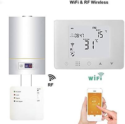 WiFi y RF inal/ámbrico de cuarto de ba/ño Caldera de gas de pared Ambiente mando a distancia regulador de temperatura termostato programable