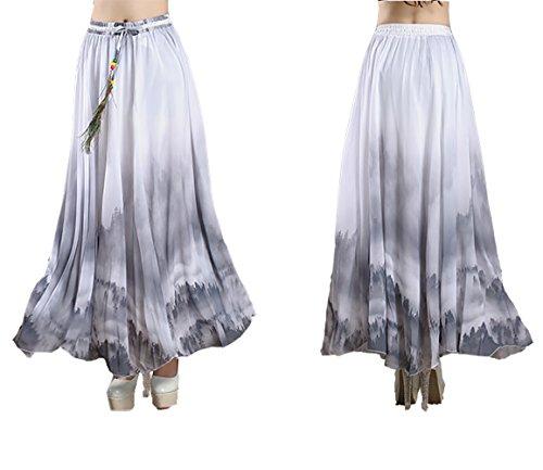 Mujeres Bohemio pintura china pluma de pavo real playa Fiesta partido maxi Largo Falda plisada Skirt Gris